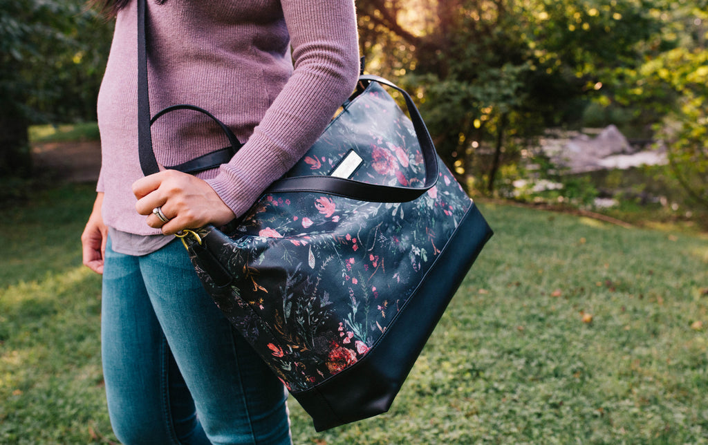 NEW-  Black Fable Floral-The Roam and Rise Carryall