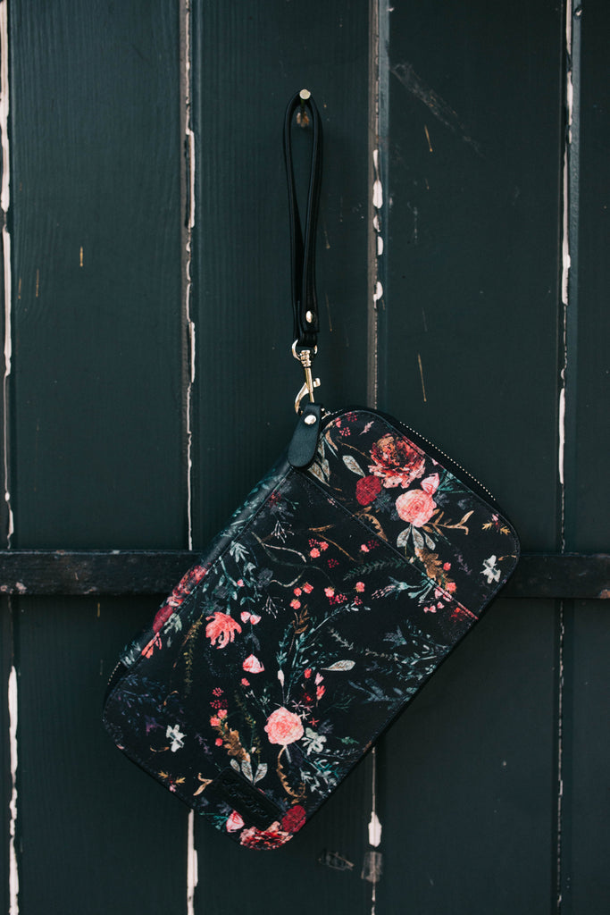 Black Fable Floral Traveler's Wallet