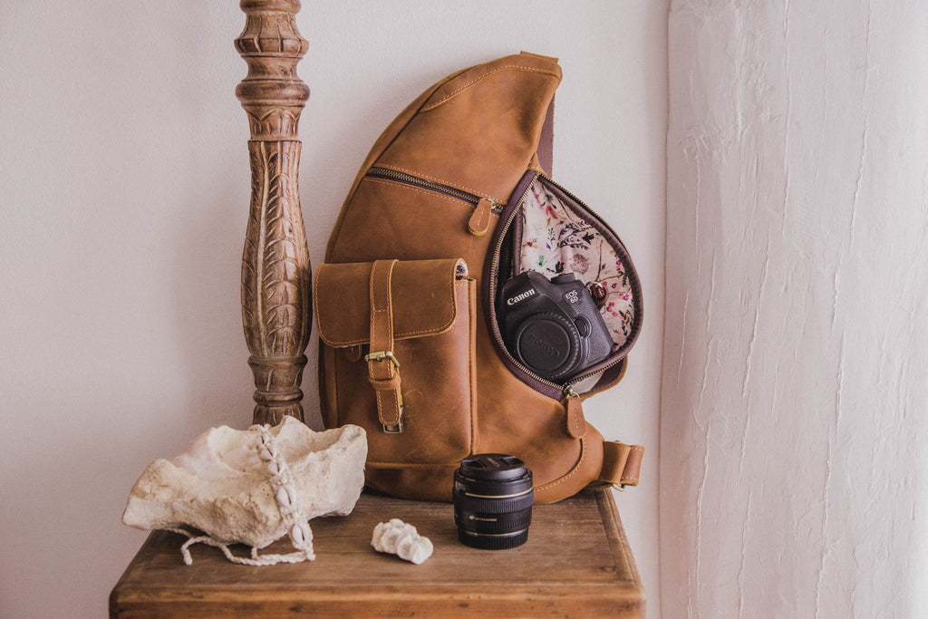Presale-Vintage Brown Leather Sling Camera Bag