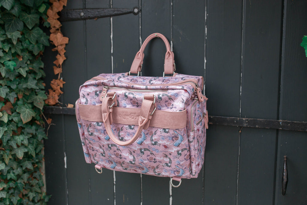CLEARANCE- Diaper Bag -Oceana Mermaids Pink or Blue Trim Evermore
