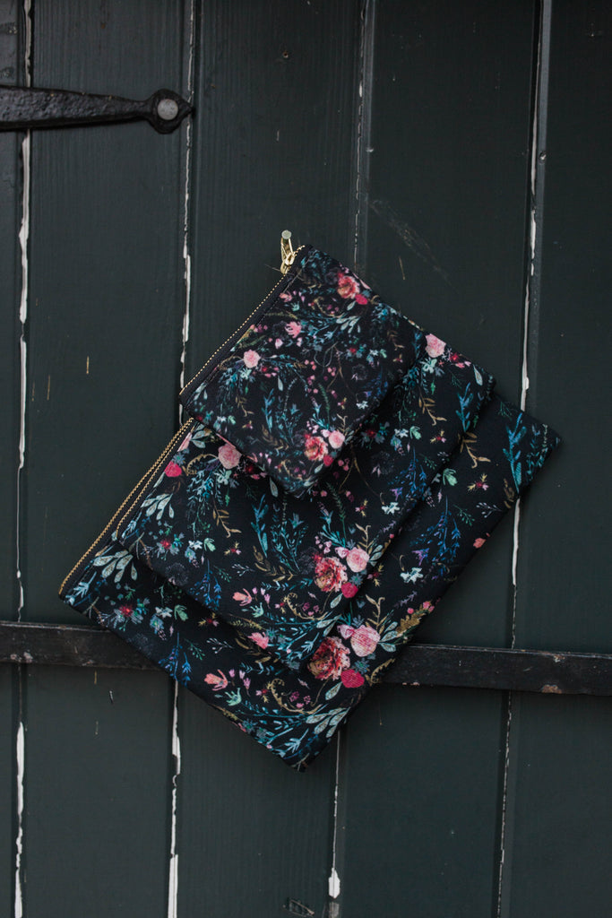 Black Fable Floral Pouch