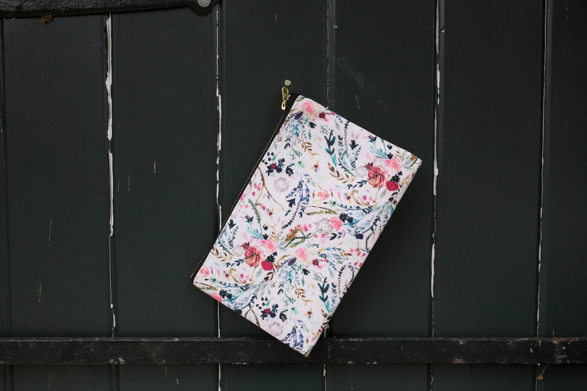 NEW!- Pink Fable Floral Pouch