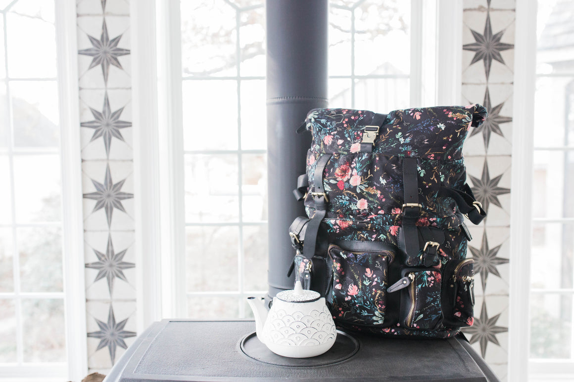 NEW! Black Fable Floral Rucksack