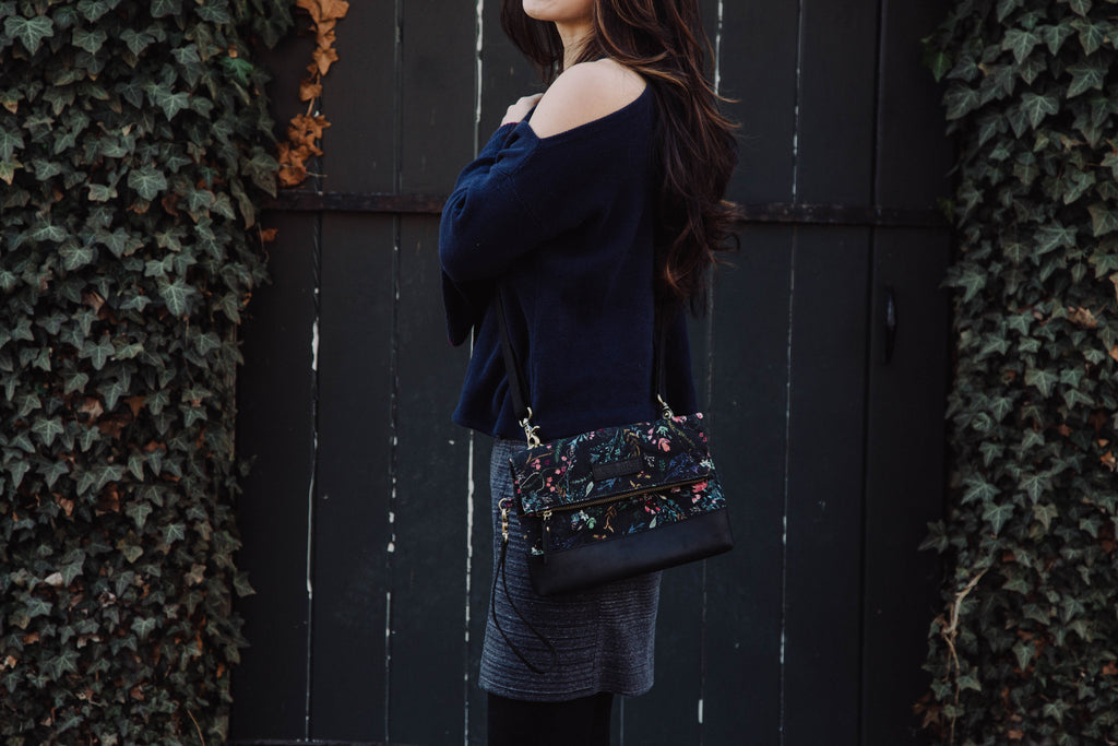 Black Fable Floral Clutch