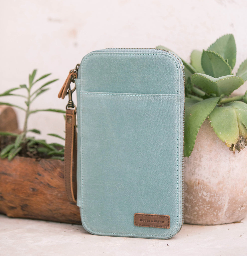 Seafoam Leather and Canvas Traveler's Wallet