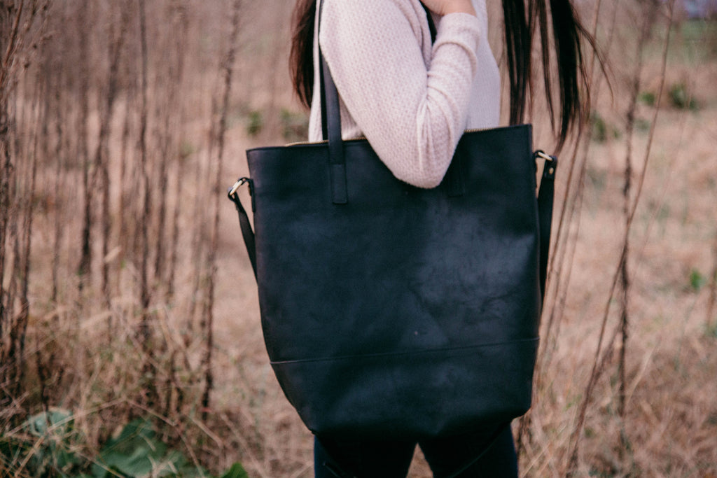 NEW- Everyday Bag- Black Genuine Leather