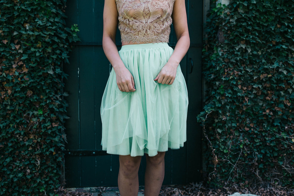 CLEARANCE- Perfect Tulle Skirt- Blush Mint -Short-