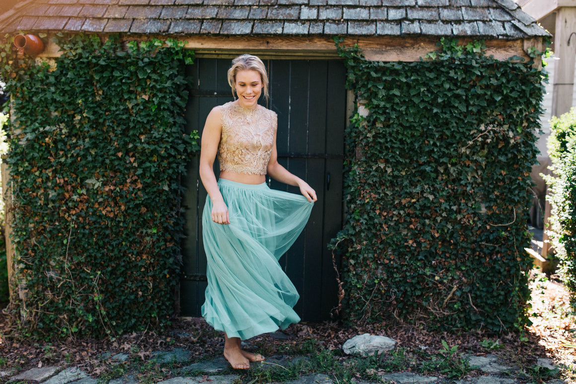 Perfect Tulle Skirt-  Blush Caribbean Teal -Long