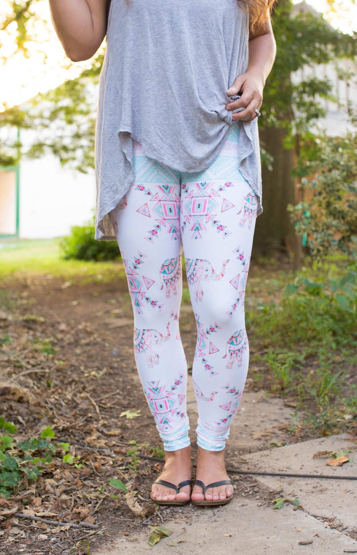 Women's Leggings- Boho Elephant