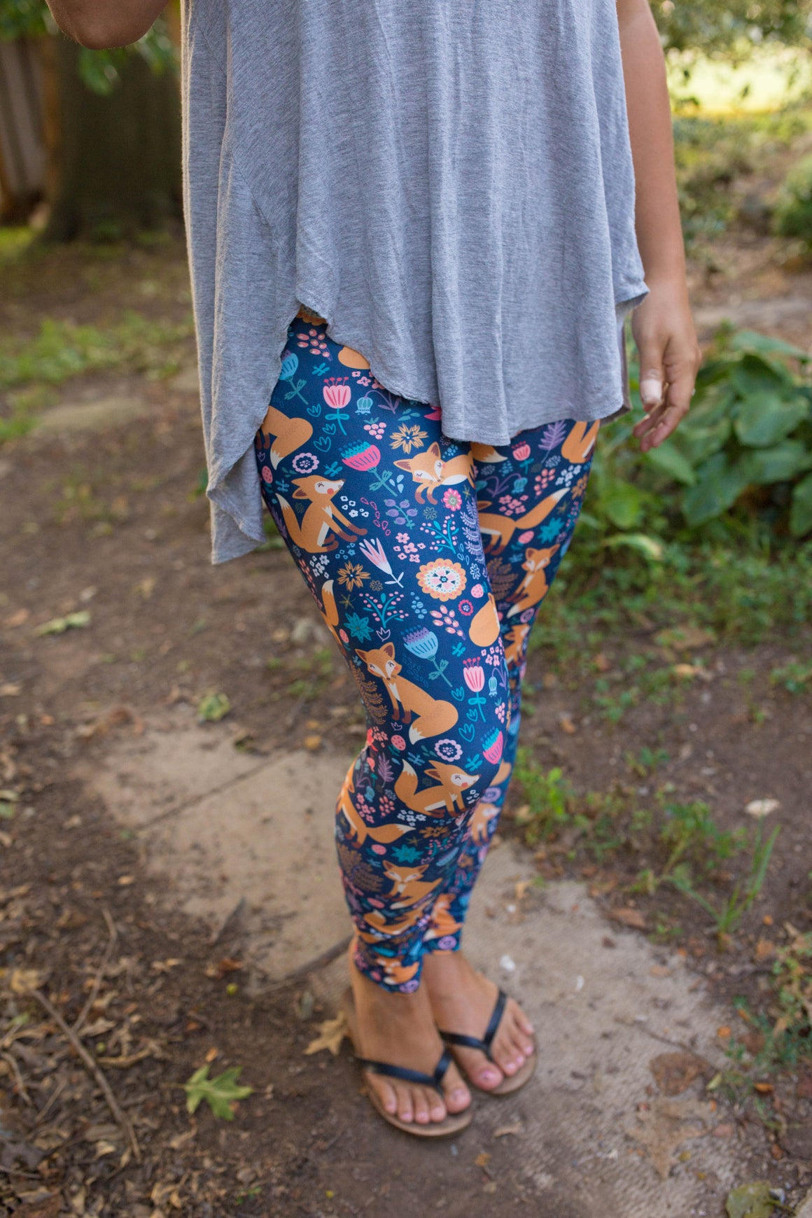 Women's Leggings- Playful Foxy