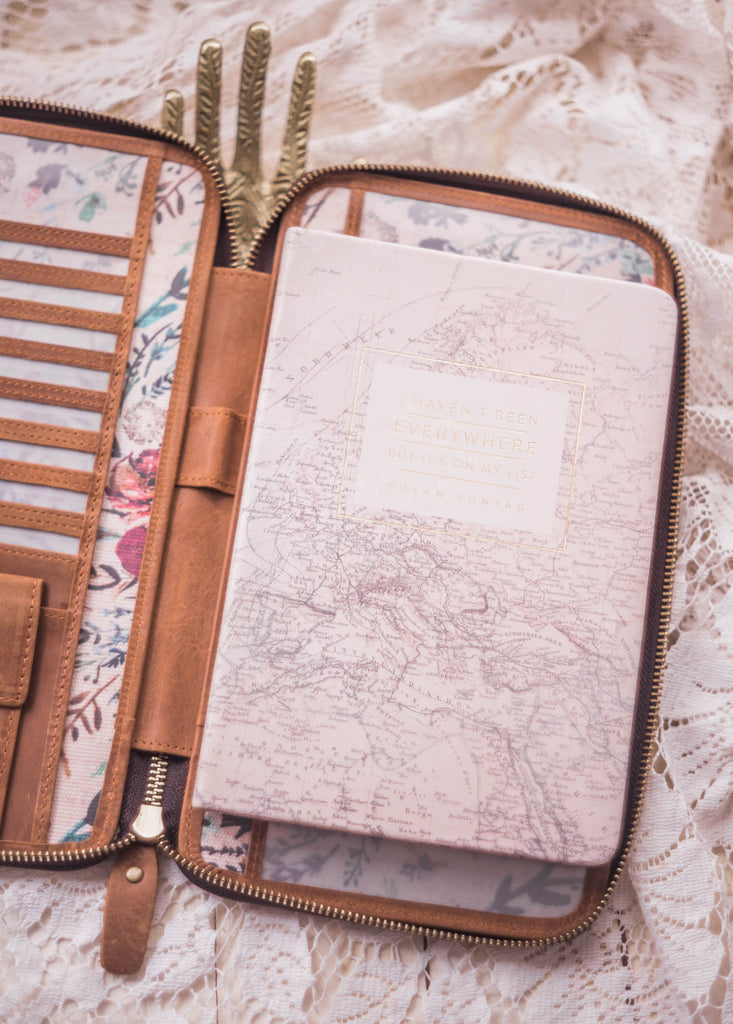 Leather and Blush Fable interior Traveler's Wallet
