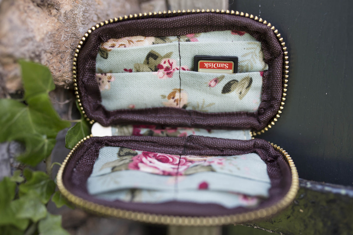 Leather and Floral Memory Card Holder - 3 Colors Available