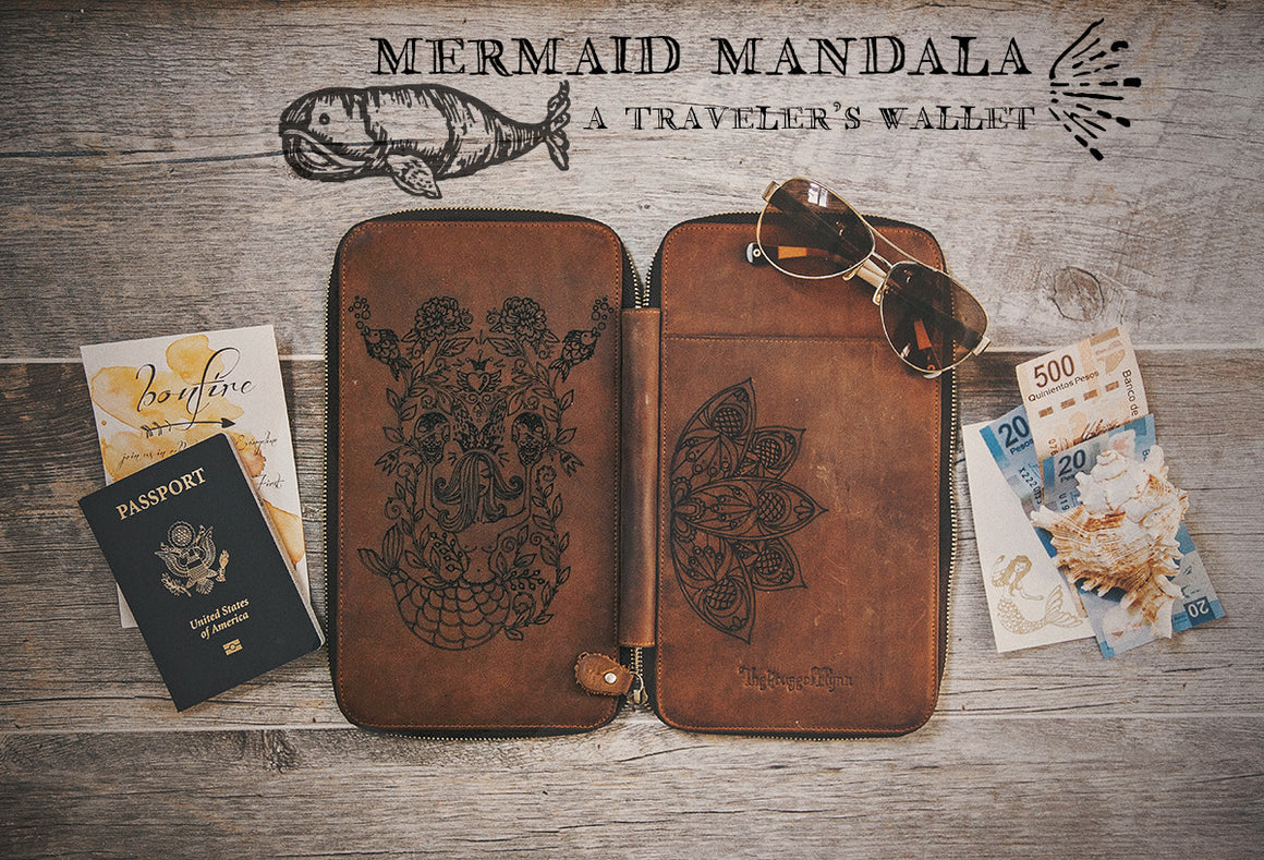 Mermaid Tribe Mandala Engraved Vintage Brown Leather Traveler's Wallet