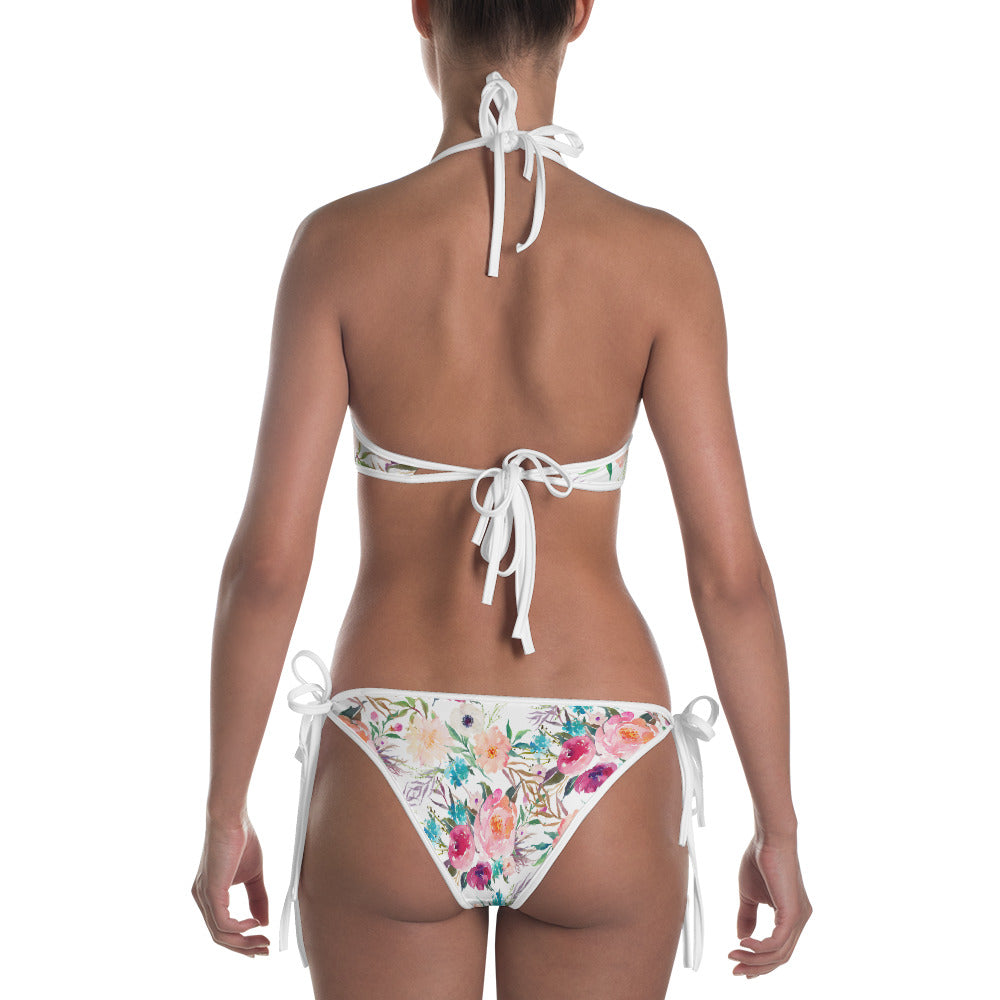 Reversible Playa and Pink Monstera Bikini