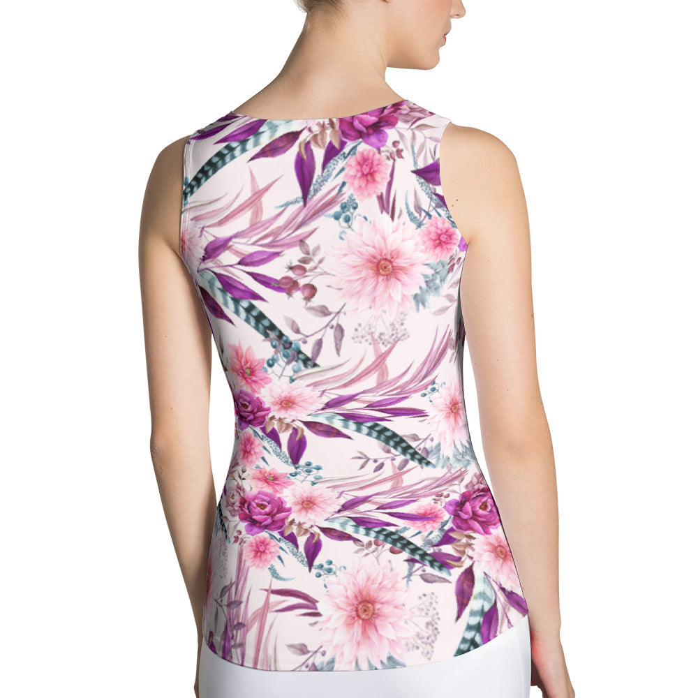 Feather Floral Long Sport and Swim Tank