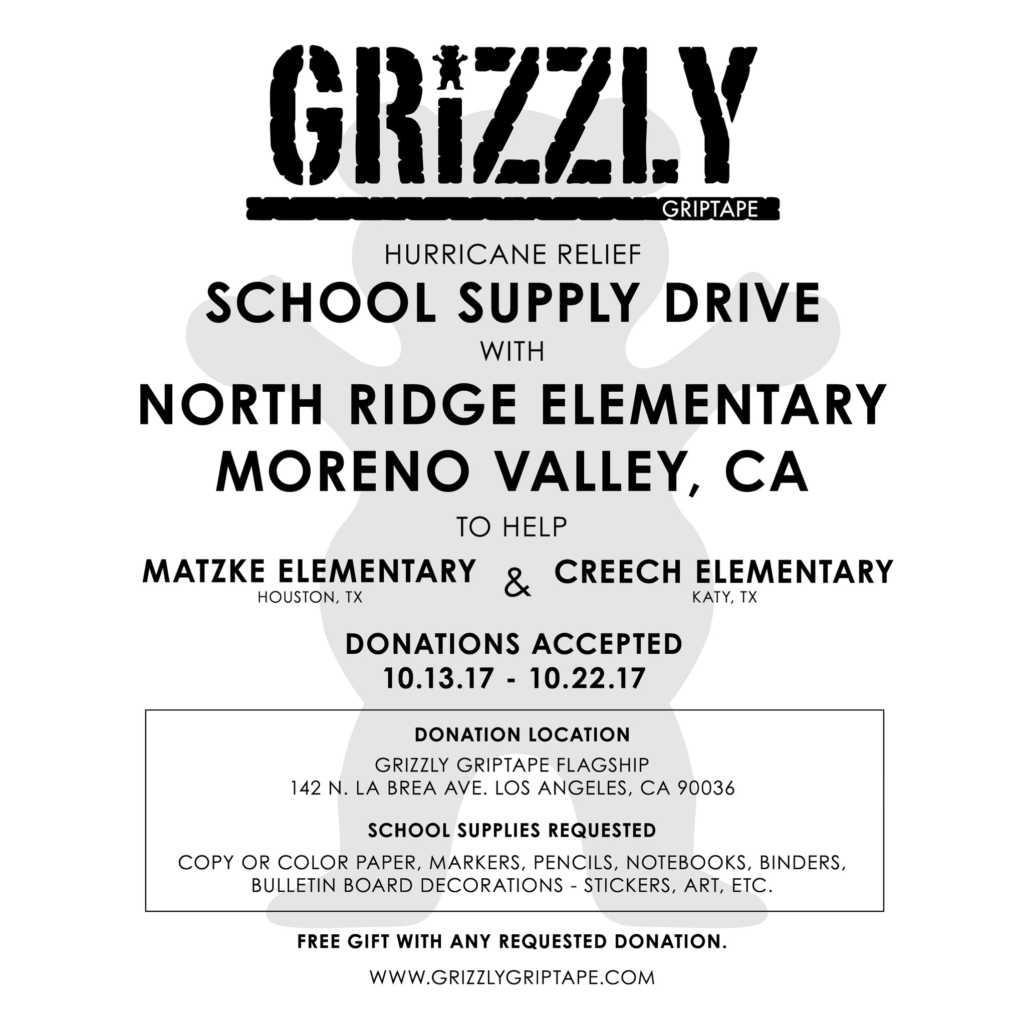 Grizzly School Supply Drive For Hurricane Relief