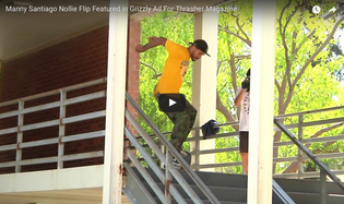 Manny Santiago Nollie Flip Featured in Grizzly Ad For Thrasher Magazine