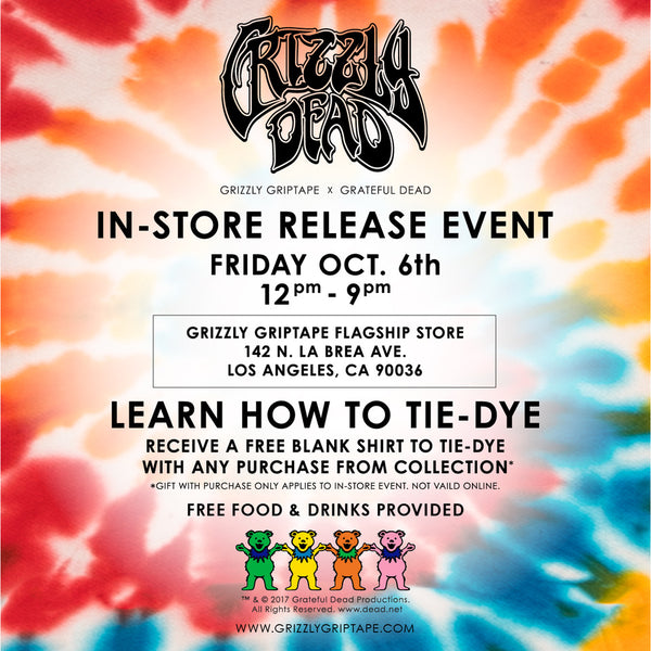 In-store release event. Grizzly Griptape x Grateful Dead teamed up for this exclusive collection including Hard-goods, soft-goods and accessories.