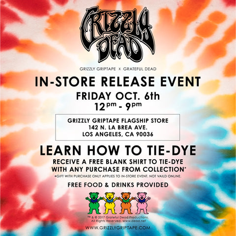 In-store release event. Grizzly Griptape x Grateful Dead teamed up for this exclusive collection including Hard-goods, soft-goods & accessories.