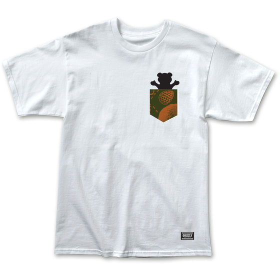 Foliage Pocket Bear Tee White