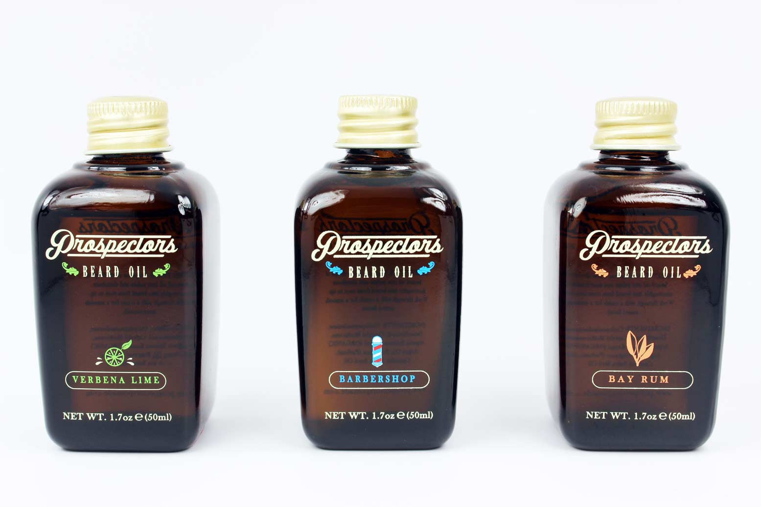 three beard oils from prospectors pomade in three scents