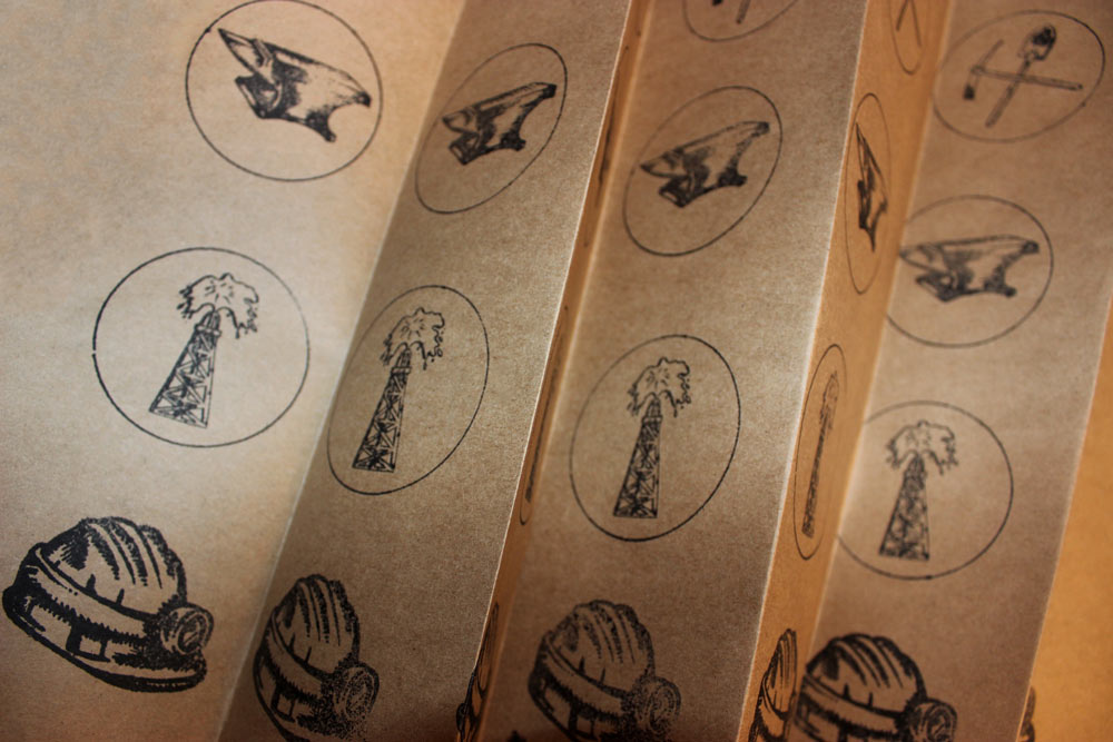 Brown Paper with Oil Rig, Construction Hats and Anvil Stamps