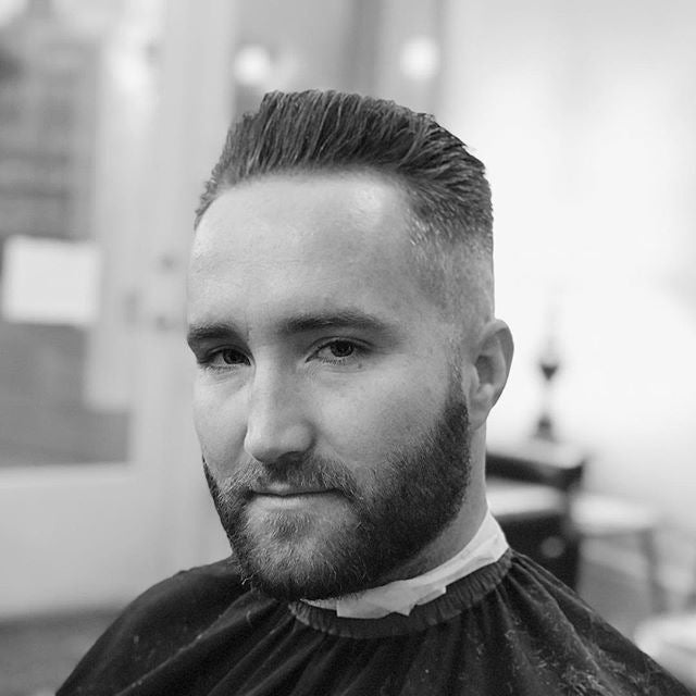 Danburry.barber repost on a finished haircut styled with prospectors pomade