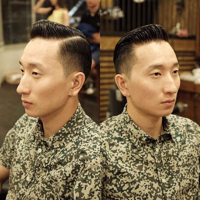 barber_django instagram picture of low fade pompadour haircut with prospectors pomade