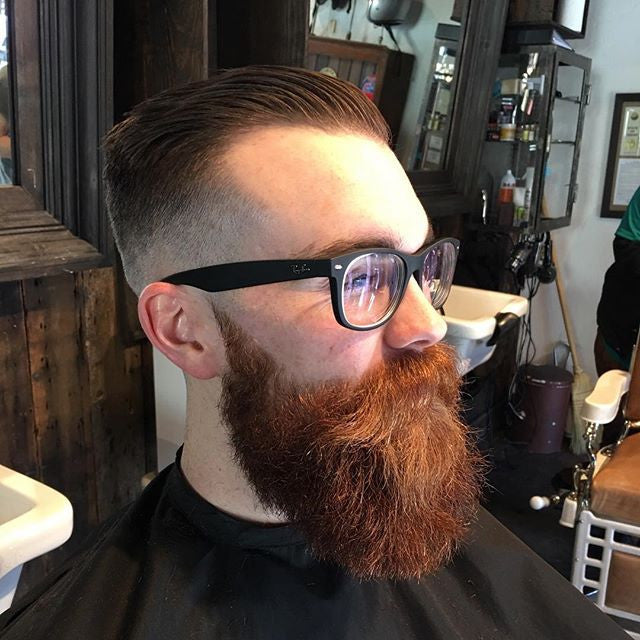 bulwarkbarber red beard cut and styled with prospectors pomade