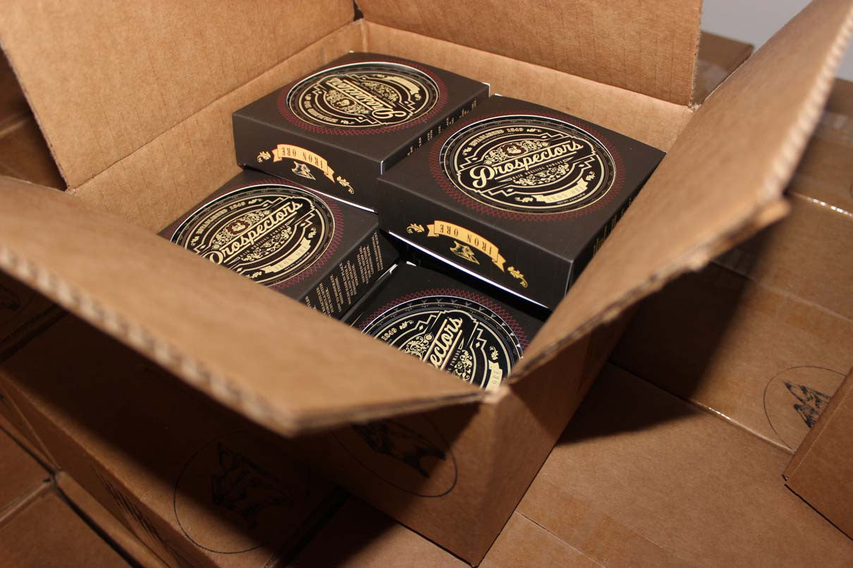 cardboard box of prospectors pomades ready to be shipped