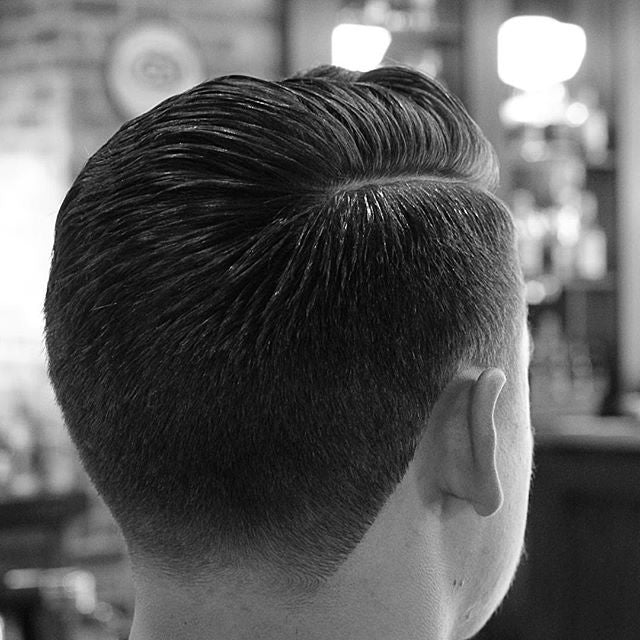 deadthebarber classic sidepart hairstyle with prospectors pomade