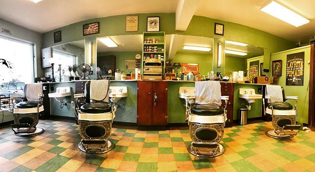 grahams_barber_shop interior picture with gold and green tiled floor