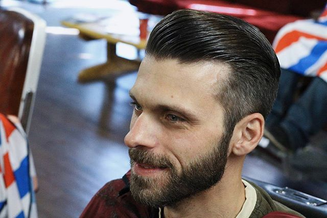 karlmackenziebarber with a great haircut and prospectors pomade styled