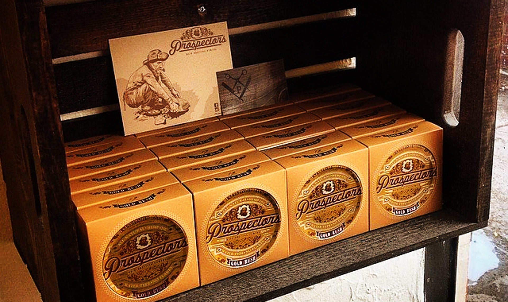 Prospectors Gold Rush Pomade displayed at Pipers Parlor Barbershop