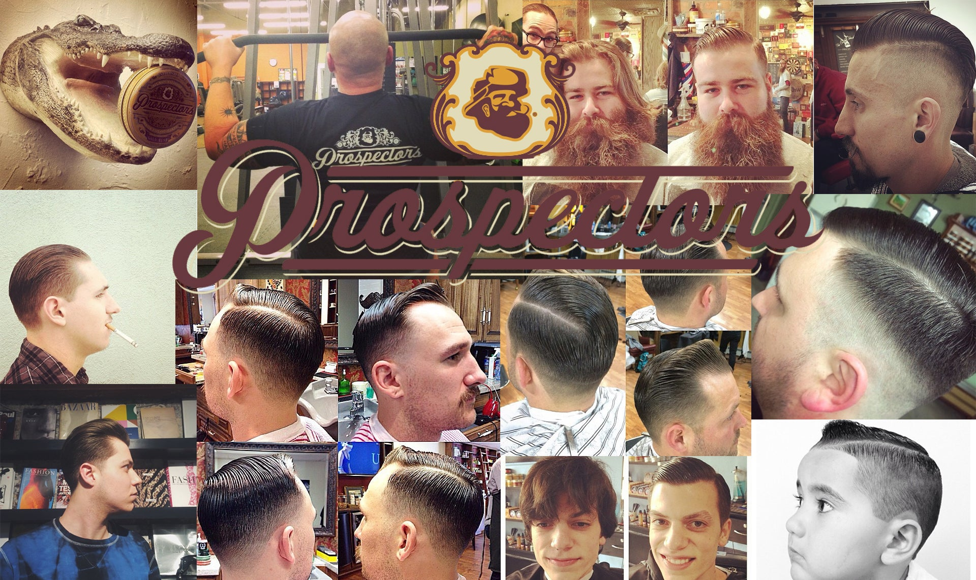 Collage Prospectors pomade supporters barbers hairstyles barbershop