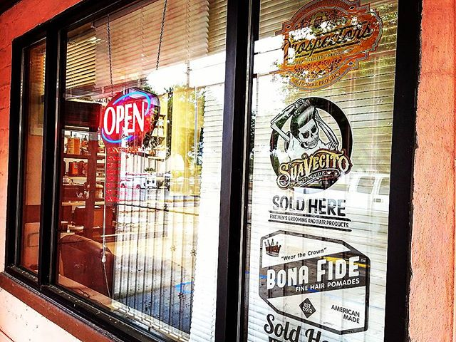 rudystylez rocking the prospectors suavecito bona fide window stickers on barbershop window