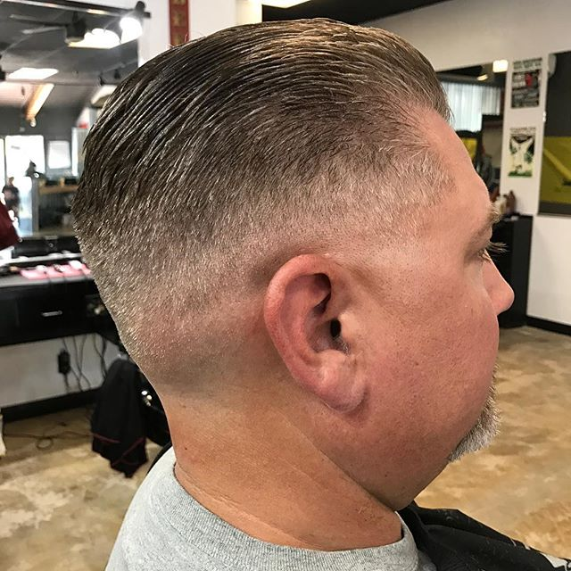 slick_and_destroy805 mens slickback haircut with medium fade to skin