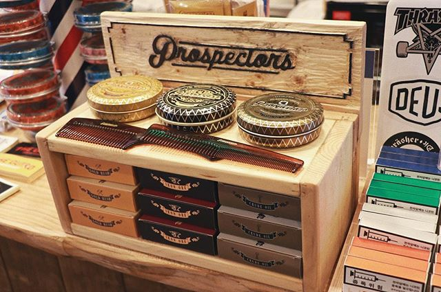 theoutrobarbershop with a custom prospectors pomade box