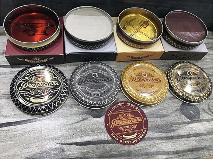 Prospectors Pomade Assorted Cans on grey display