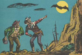 cowboys looking at moon with a bat in front of it drawing cartoon