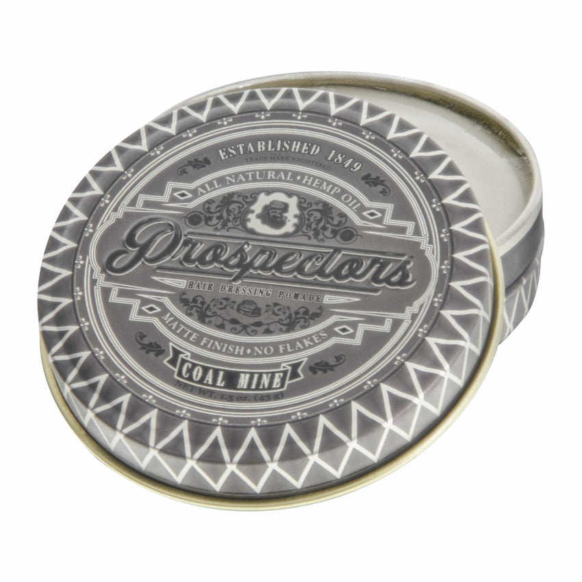Prospectors Coal Mine Matte Pomade 1.5 ounce tin jar - open view