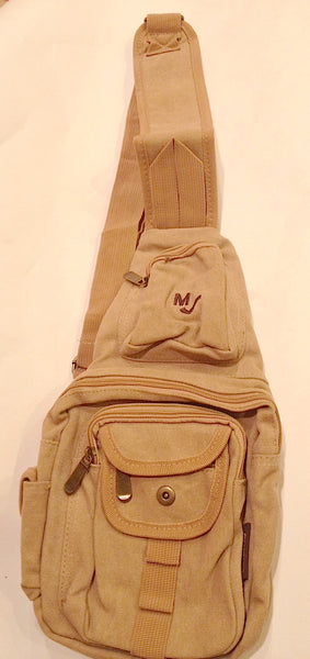 UNISEX Sling Backpack Crossbody EuroSport Khaki Camel Canvas Bag