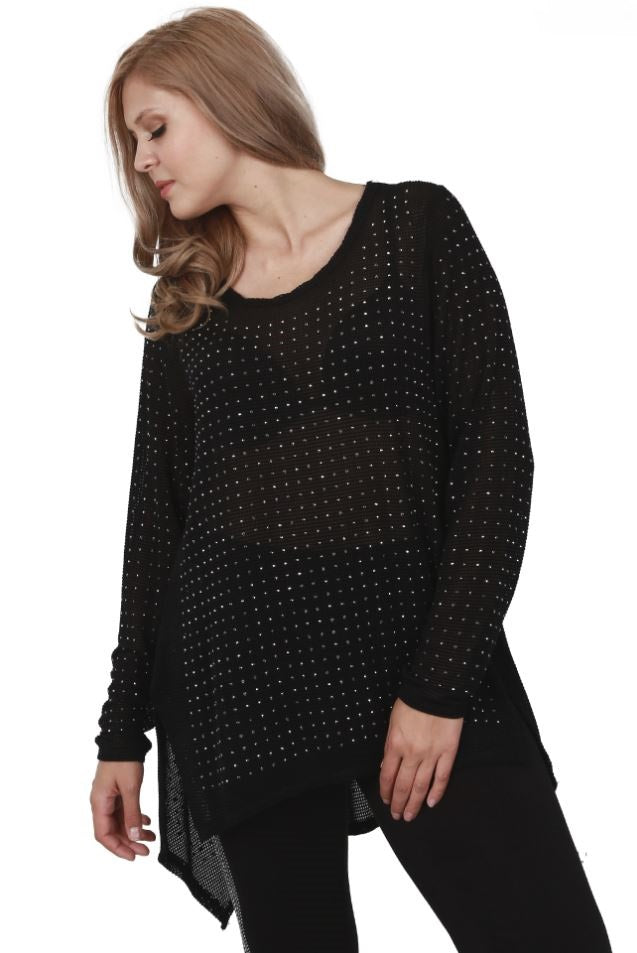 Front view plus size woman wearing black long sleeve studded tunic top