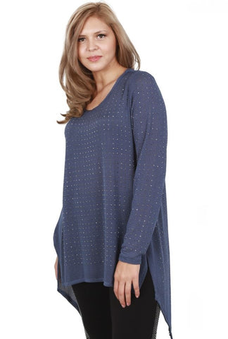 Front left three quarter view plus size woman wearing denim blue long sleeve studded tunic top