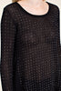 Detail front view black long sleeve studded tunic top