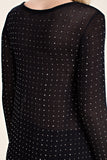Detail back view black long sleeve studded tunic top