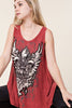 Front detail view young woman wearing red printed tank tunic top with silver studs and rhinestones