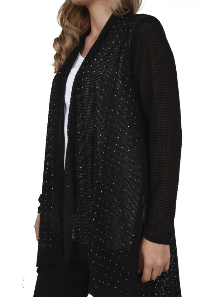 Left side view young plus-sized woman wearing black lightweight studded cardigan