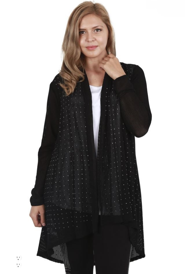 Front view young plus-sized woman wearing black lightweight studded cardigan