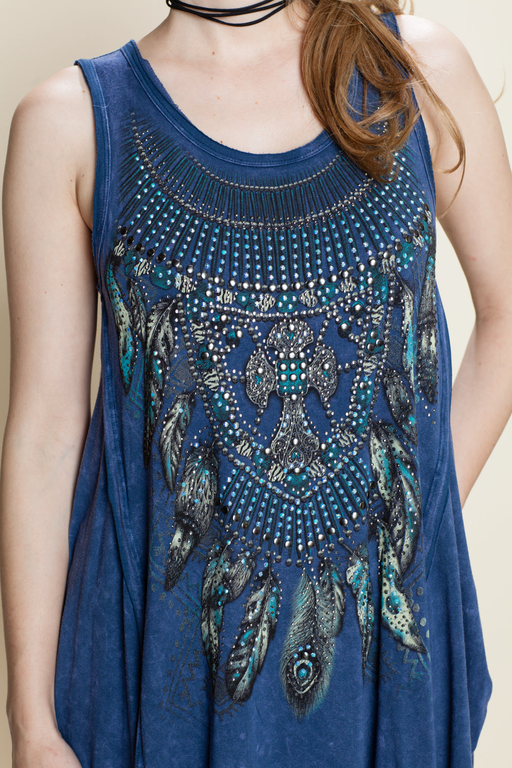 Front detail view blue swing tank top with feather print and stones